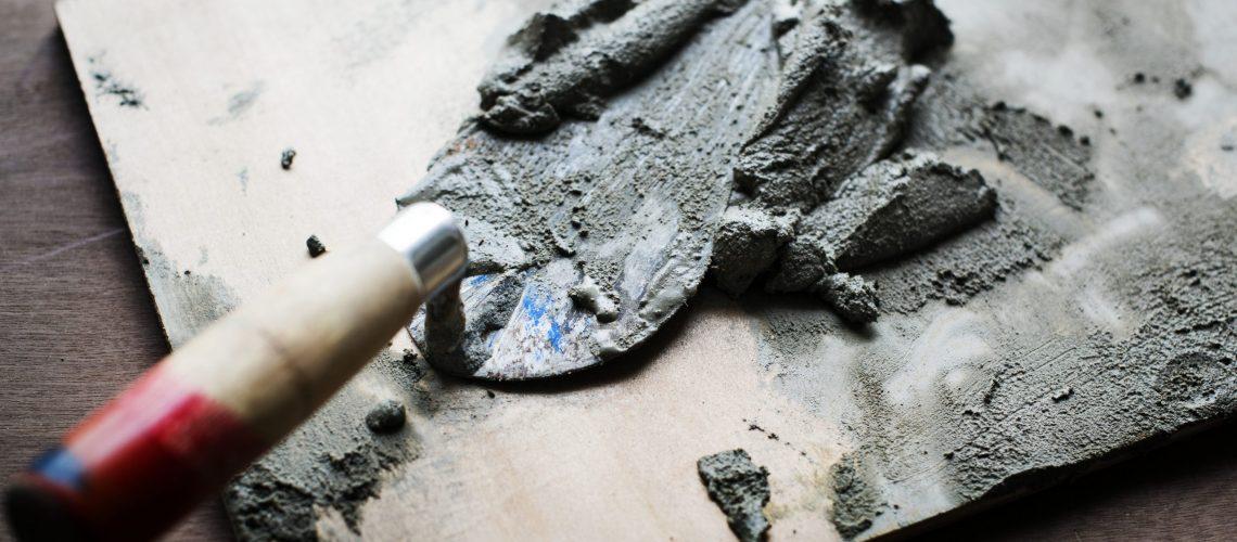 Handyman prepare cement use for construction